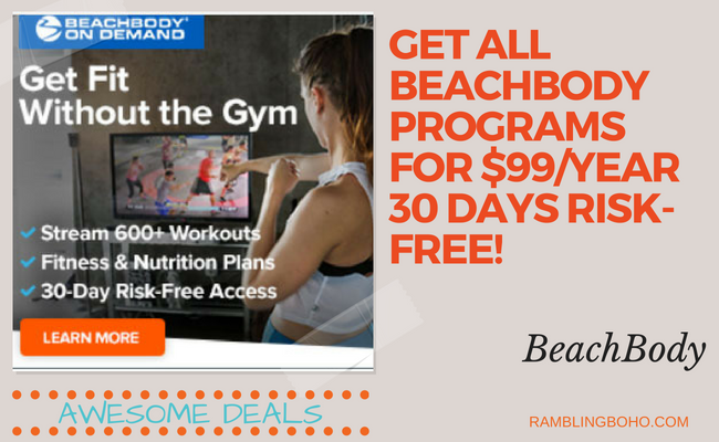 Stream workouts from your laptop, tablet, TV, or mobile device. Anytime. #Beachbody #fitness #unlimitedaccess #RamblingBoho